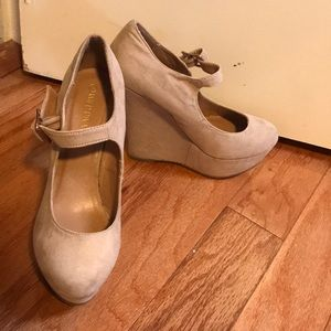 New nude suede wedges